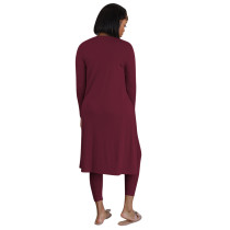 Solid Color Autumn Wine Red Three Piece Set Pit Vest Pant Set with Cardigan
