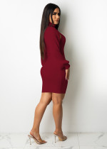 Casual Wine Red Thread Pit Vest Mini Dress with Lantern Sleeve Shawl