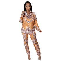 Two Piece Printed Shirt Pants Set with Zipper