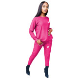 Fashion Rose Round Neck Women 2 Pieces Set Printed Tracksuits