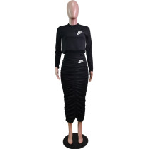 Solid Color Black Long Sleeve Printed Pullover Women Skirt Sets Two Piece Outfits