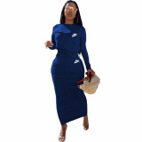 Solid Color Blue Long Sleeve Printed Pullover Women Skirt Sets Two Piece Outfits