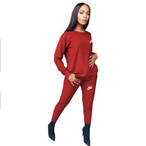 Fashion Red Round Neck Women 2 Pieces Set Printed Tracksuits