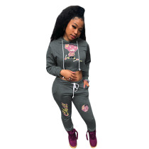 Casual Autumn/Winter Printed Hooded Sweatsuit Pant Set