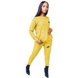 Fashion Yellow Round Neck Women 2 Pieces Set Printed Tracksuits