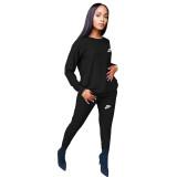 Fashion Black Round Neck Women 2 Pieces Set Printed Tracksuits