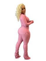 Solid Color Pink Ribbed High Neck Stacked Lounge Wear Sets Women