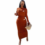 Solid Color Long Sleeve Printed Pullover Women Skirt Sets Two Piece Outfits