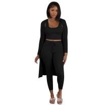 Solid Color Autumn Black Three Piece Set Pit Vest Pant Set with Cardigan
