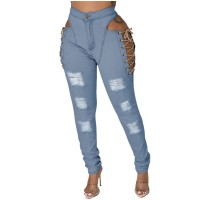 Casual Eyelet Lace-up Washed Denim Trousers