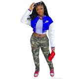 Autumn Dark Blue Long Sleeve Baseball Crop Tops Printed Short Jacket with Pockets
