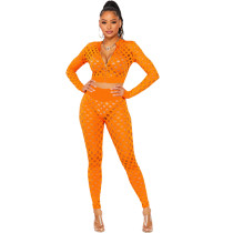 Women's Casual Orange 2 Piece Outfits Sheer Jacquard Hole Long Sleeve Blouse Tops and Pants Clubwear Set