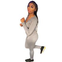 Womens Fall Clothing 2021 Grey Zipper Drawstring Hoodie Pant Set