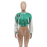 Autumn Long Sleeve Crop Tops Printed Baseball Short Jacket with Pockets