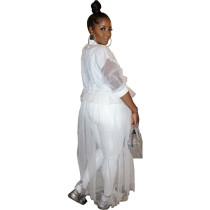 Women White Long Sleeve Mesh Insert Patchwork Shirt Elegant Top Blouses