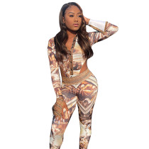 Casual Oil Painting Print Long Sleeve Romper Two Piece Outfits