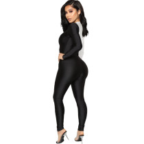 White/Black Color Matching Sexy Bodycon Jumpsuit