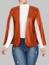 Brown PU Leather Fake 2 Pcs Set