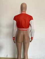 Autumn Red Long Sleeve Baseball Crop Tops Printed Short Jacket with Pockets