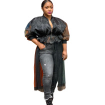 Women Black Long Sleeve Mesh Insert Patchwork Shirt Elegant Top Blouses