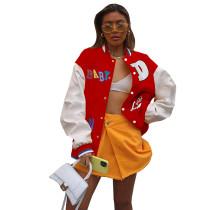 Casual Red Printed Baseball Uniform Jacket