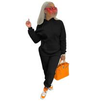 Solid Color Black Fleece Sweatshirt Hoodie Women Pant Set