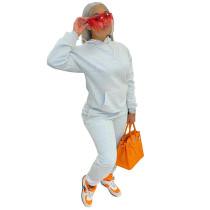 Solid Color Beige Fleece Sweatshirt Hoodie Women Pant Set