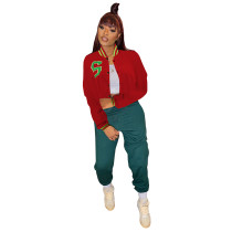 Casual Red Cropped Letter Print Varsity Baseball Jacket