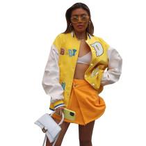 Casual Yellow Printed Baseball Uniform Jacket