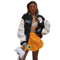 Casual Black Printed Baseball Uniform Jacket