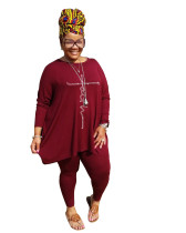 Wine Red Round Neck Solid Color Hot Drilling Plus Size Autumn Set