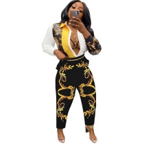 Casual Floral Longs Print Single-Breasted Women's Two Piece Sets