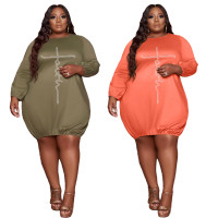 Hot Drilling Women Spring Clothes Ladies Fall Fashion Long Sleeve Solid Color Plus Size 5xl Midi Dresses