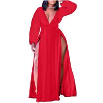 Red Plus Size Deep V-Neck High Slit Maxi Dress