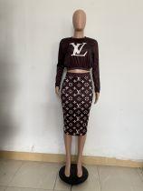 Autumn Brown Printed Letter Midi Skirt Two Piece Set