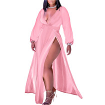 Pink Plus Size Deep V-Neck High Slit Maxi Dress