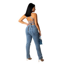 Sexy Backless Bandage Denim Jumpsuit