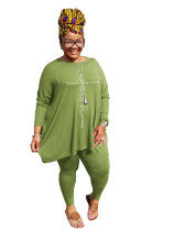 Green Round Neck Solid Color Hot Drilling Plus Size Autumn Set