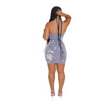 Halter Denim Zipper Clubwear Sexy Bodycon Dress