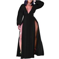 Black Plus Size Deep V-Neck High Slit Maxi Dress