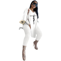 White Women's Casual Embroidered Oversized Two Piece Outfits Long Sleeve Split Tops Long Set