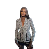 Fall Black Printed Button Women's Casual Suit Jacket