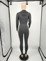 Autumn Winter Gray Black Women's Clothing Solid Color Two Piece Hoodie Set