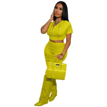 Solid Color Yellow Boutique Clothing Women Short Sleeve 2 Piece Set Hoodie