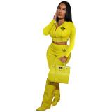 Trendy Yellow Printed Hoodie Crop Top Pant Set with Zipper