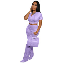 Solid Color Purple Boutique Clothing Women Short Sleeve 2 Piece Set Hoodie
