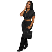 Solid Color Black Boutique Clothing Women Short Sleeve 2 Piece Set Hoodie