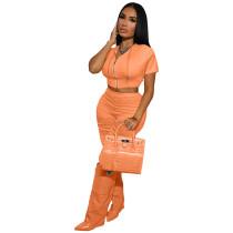Solid Color Orange Boutique Clothing Women Short Sleeve 2 Piece Set Hoodie