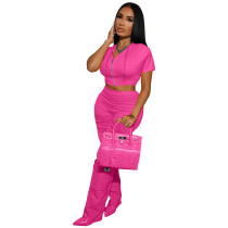 Solid Color Rose Boutique Clothing Women Short Sleeve 2 Piece Set Hoodie