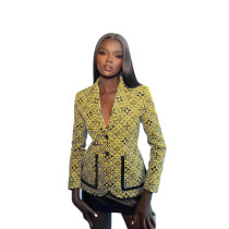 Fall Yellow Printed Button Women's Casual Suit Jacket